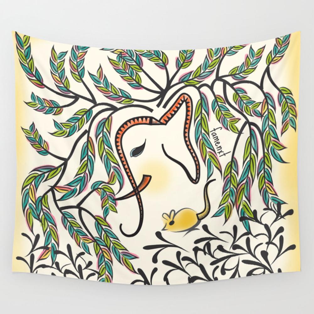 Vibrant Jungle Ele Wall Tapestry by Famenxt TPS2446404