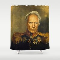 clint eastwood Shower Curtains featuring Clint Eastwood - replaceface by replaceface