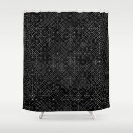 Black and White Overlap 1 Shower Curtain