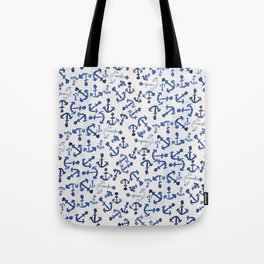 Nautical Navy Blue White Watercolor Anchor Pattern Tote Bag