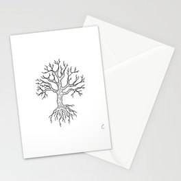 Leafless Rooted Tree Illustration Stationery Cards