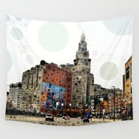 cleveland Wall Tapestries featuring Downtown Cleveland by Rachel Barrett