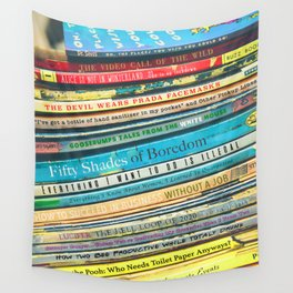 Quarantine Book Titles Wall Tapestry