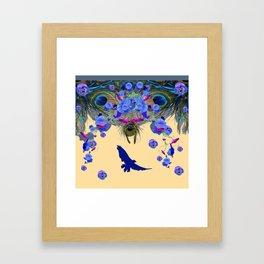 BLUE MORNING GLORIES & FLYING BLUE BIRD ART Framed Art Print