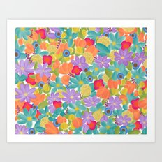 Wild Flowers Design Colorful Feminine Artsy Beautiful White Background Art Print
