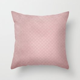 Grunge textured rose quartz small scallop pattern Throw Pillow