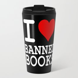 I Heart Banned Books (On Black) Travel Mug