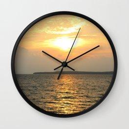 Vertical Sunrise over Lake Huron Wall Clock