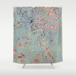 Sage Pine leaves Abstract Pattern Shower Curtain