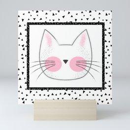 Pink Cheek Kitty Cat Retro Style Mini Art Print