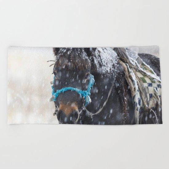 Winter Horse I Beach Towel
