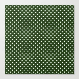 White Five Pointed Stars on Dark Forest Green Canvas Print