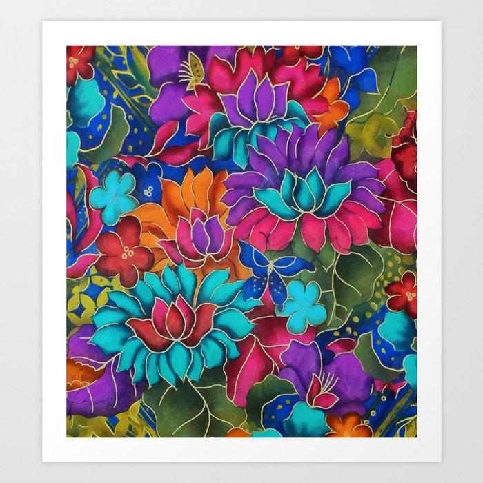Colorful floral fantasy Art Print