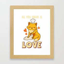 Cute & Funny All You Knead Is Love Cat Kneading Framed Art Print