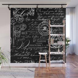 White Vintage Handwriting on Black Wall Mural