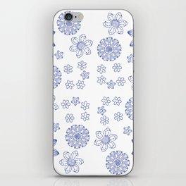 Grunge Garden   Royal Blue Floral Design iPhone Skin