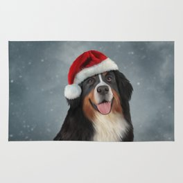 Bernese Mountain Dog in red hat of Santa Claus Rug