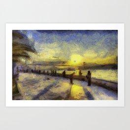 Bosphorus Sunset Van Gogh Art Print