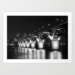 Cheong Dam, Seoul, South Korea, Black and White Art Print