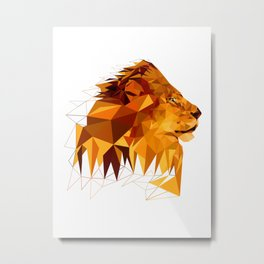 Geometric Lion Wild animals Big cat Low poly art Brown and Yellow Metal Print