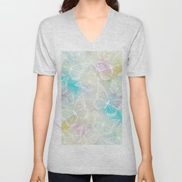 Pastel colored butterfly pattern, girly trend vintage design Unisex V-Neck
