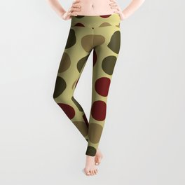 polka dots in green and maroon Leggings