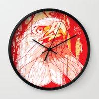 eagle Wall Clocks featuring Eagle by KUI29