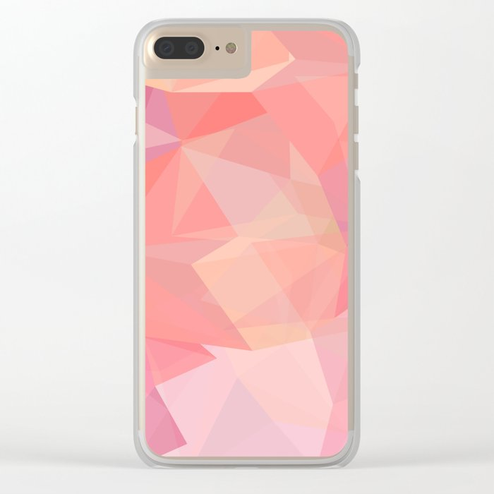pink color polygon background Clear iPhone Case