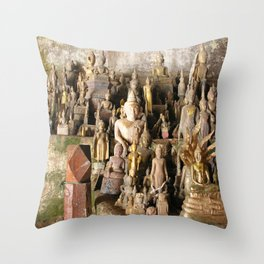 Buddha statues, Pak Ou Caves, Laos Throw Pillow