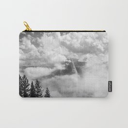 Half Dome in the Clouds, Yosemite National Park, Yosemite Photography, Black and White Photography Carry-All Pouch