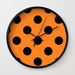 Halloween Black Orange Polka Dot Wall Clock