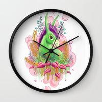 donkey Wall Clocks featuring Green donkey by sophie gerl