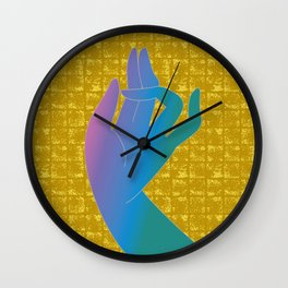 Holly Hand on Gold-leaf Screen Wall Clock