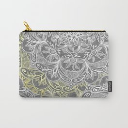 Yellow & White Mandalas on Grey Carry-All Pouch