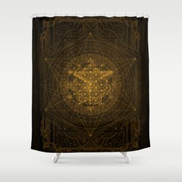 Dark Matter - Gold - By Aeonic Art Shower Curtain