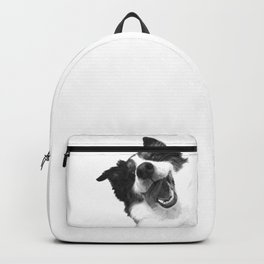 Black and White Happy Dog Backpack