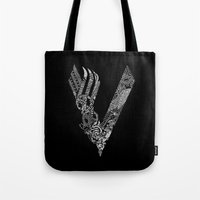 vikings Tote Bags featuring Black Vikings by Fiorella Modolo
