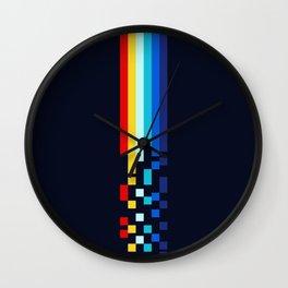 Classic 80s Video Game Retro Stripes Pixel Drops - Ayakazu Wall Clock