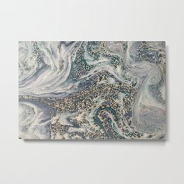 Metallic Marbled Agate Metal Print
