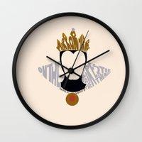 evil queen Wall Clocks featuring evil queen by pokegirl93
