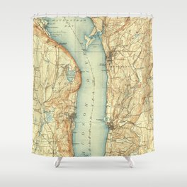 Vintage Map of Tarrytown NY & The Hudson River Shower Curtain