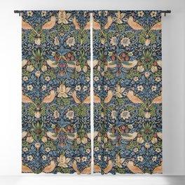 William Morris Vintage Strawberry Thief Tudor Blue Blackout Curtain