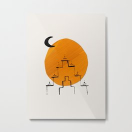 Minimalist Modern Abstract Ancient Ruins Aztec Inca Yellow Sun Paper Collage by Ejaaz Haniff Metal Print