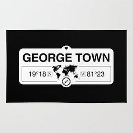 George Town Cayman Islands GPS Coordinates Map Artwork Rug