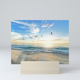 Ocean Beach Waves Sunset Photo Mini Art Print