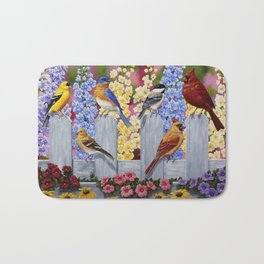Spring Garden Party Birds and Flowers Bath Mat