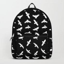 Black And White Abstract Bird Silhouettes Pattern Backpack