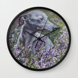 Italian Greyhound dog art from an original painting by L.A.Shepard Wall Clock