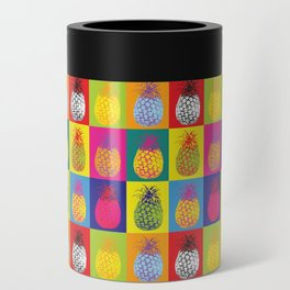 Modern Pop Art Pineapple Fruit on Colourful Squares Can Cooler