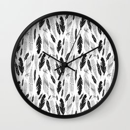 raphic pattern feathers on a white background Wall Clock
